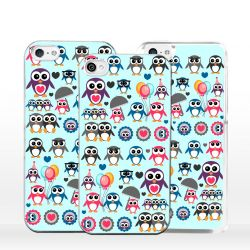 Cover per iPhone pinguini collage colorato