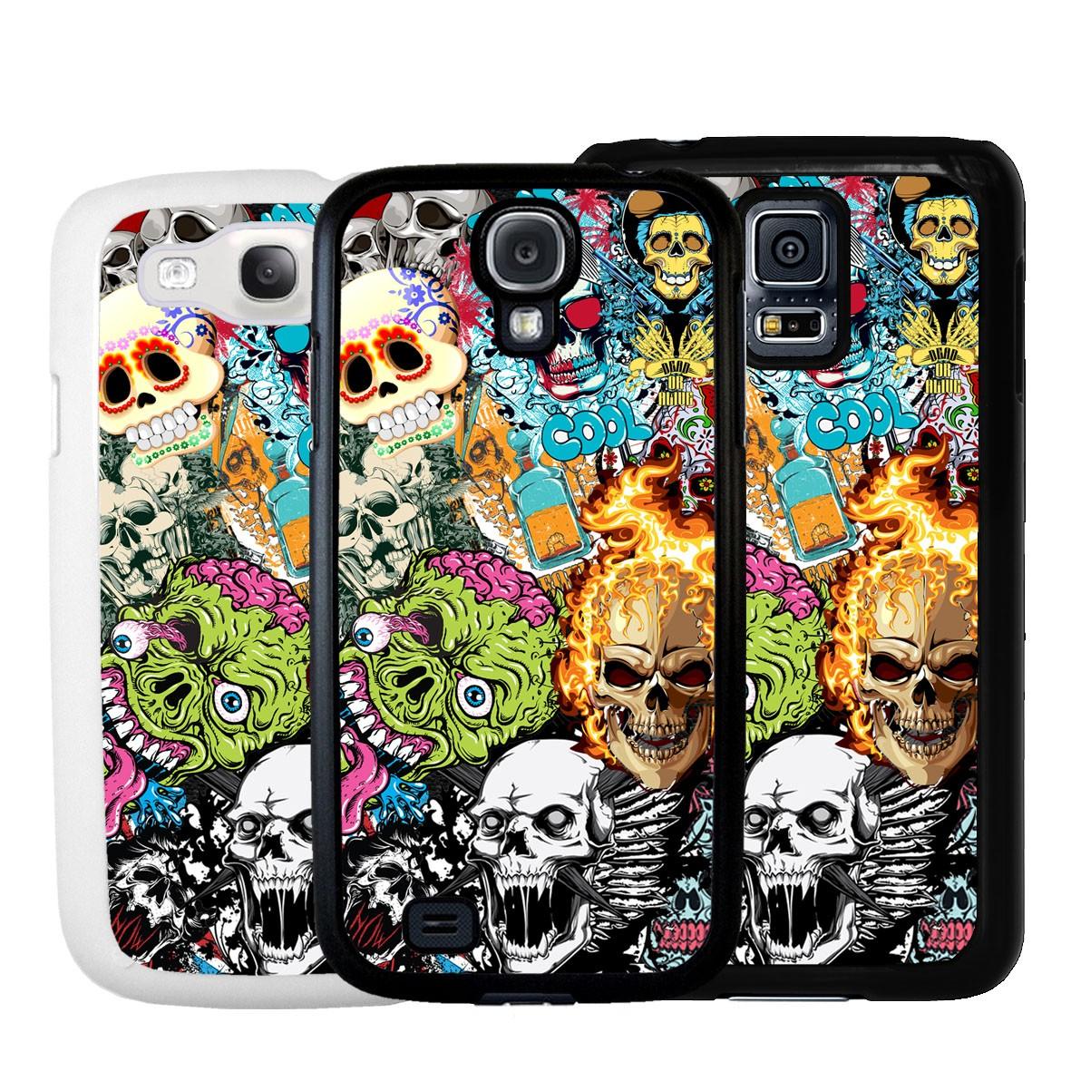 COVER Skulls Teschi StickerBomb Bianco e Nero Apple iPhone 4 5 6