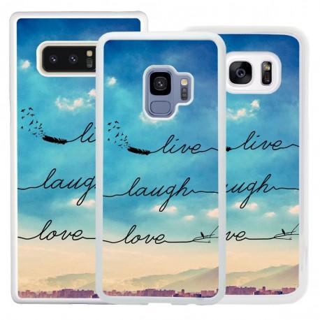 Cover con frase live laugh love per Samsung
